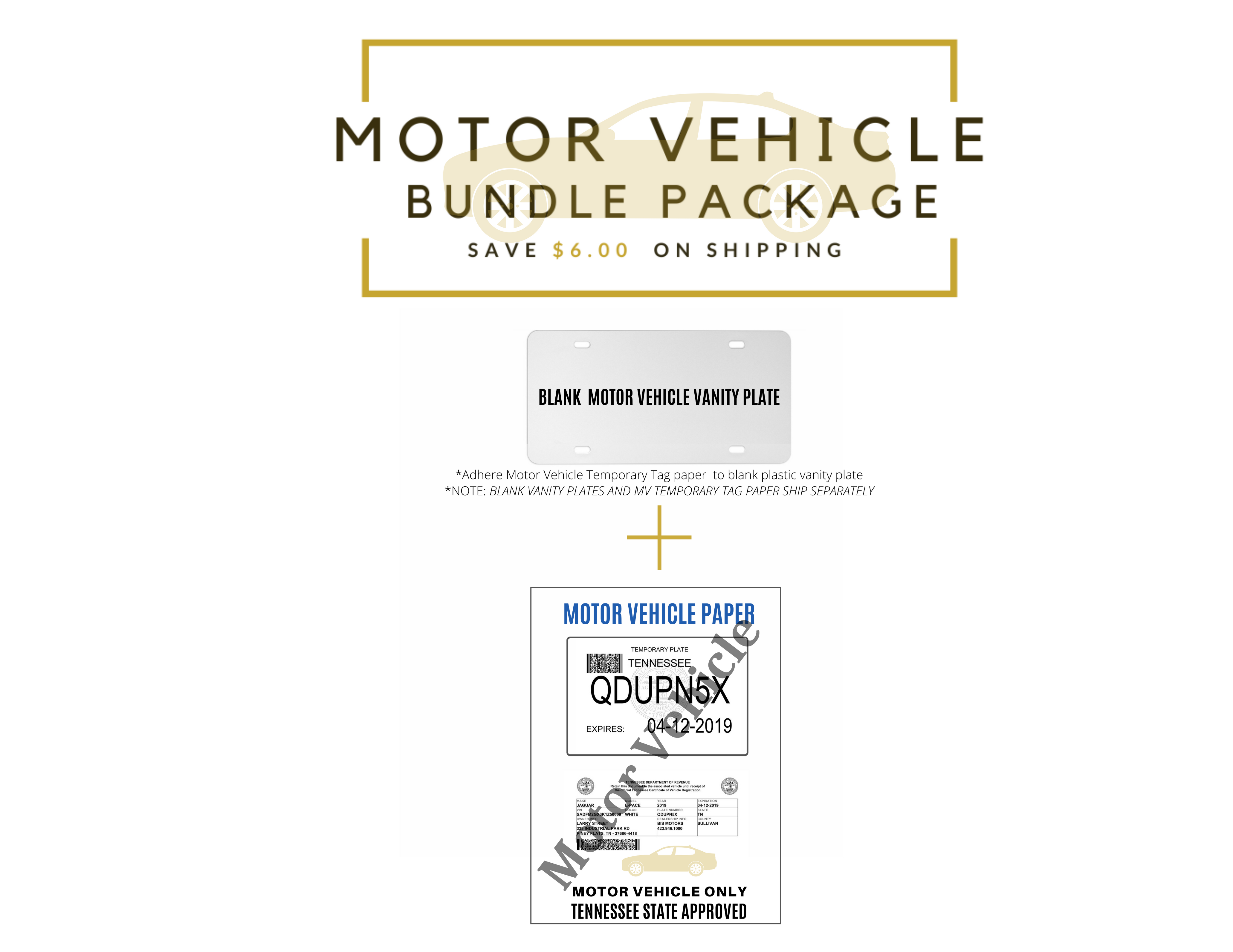 EZ Tag Motor Vehicle Paper (100 pack) and Vanity Plates (100 pack) - Save $6.00 on Shipping with Bundling<br>